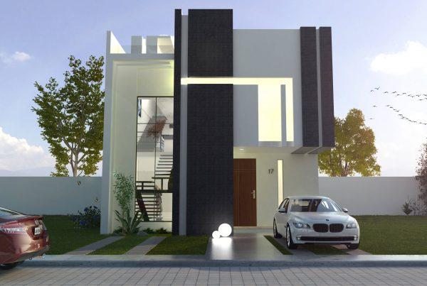 Fachada Casa NEO+ - Hogaria - Casas minimalistas - Domótica y Seguridad Avanzada